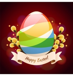 Happy Easter Greening Card With Colored Egg vector