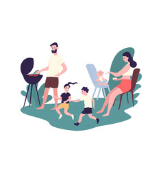 happy family spending time at summer barbeque vector image