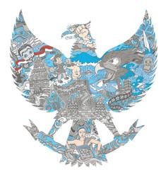 Indonesia culture in garuda silhouette vector