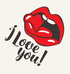 inscription i love you with mouth biting heart vector image
