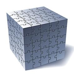 Jigsaw puzzle cube vector