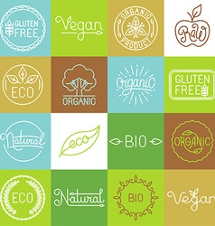 labels in trendy mono line style vector image