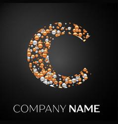 letter c logo gold-silver dots alphabet logotype vector image