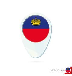 Liechtenstein flag location map pin icon on white vector