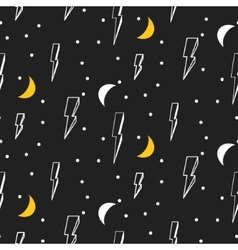 Lightning seamless pattern Black and white vector image