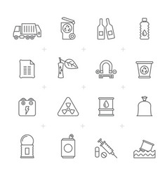 Line garbage and rubbish icons vector