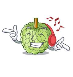 Listening music fresh custard apple sweet fruit vector