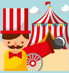 Man cannon and tent carnival fun fair festival vector