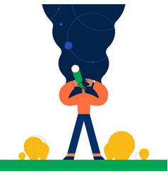 Man exploring space flat vector