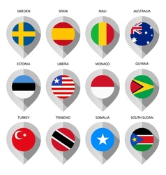 Marker from paper with flag for map - set third vector image