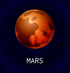 mars planet icon cartoon style vector image