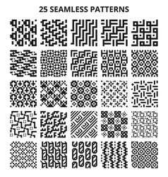 monochrome seamless geometric patterns abstract vector image