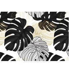 Monstera black leaves gold line art botanical vector
