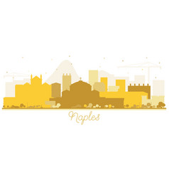 Naples italy city skyline silhouette with golden vector