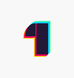 Number one logo with stereo effect vector