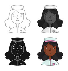 nurse icon in cartoon style isolated on white vector image