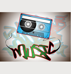 Oldschool casette with graffiti vector