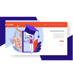online education landing web page template vector image
