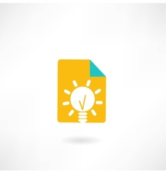 Paper with a light bulb icon vector