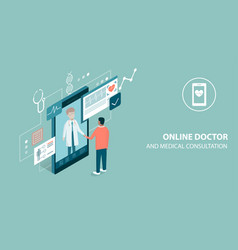 patient meeting a professional doctor online on a vector image