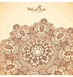 Perspective mehndi mandala in henna tattoo vector