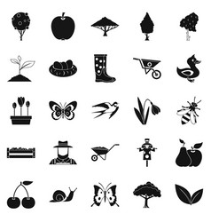 Plant icons set simple style vector