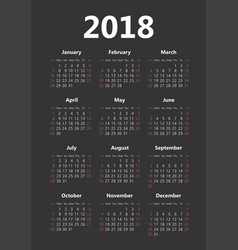 Pocket 2018 year dark background calendar vector
