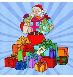 Pop Art Santa Claus with Christmas Gifts vector image