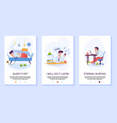 procrastination and wasting time mobile website vector image