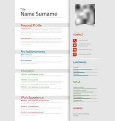 Professional personal resume cv with light gray vector