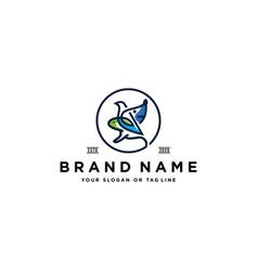 Rabbit dog bird logo design vector