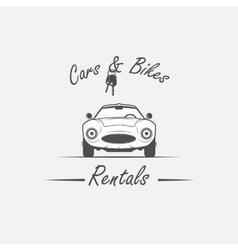 rent a car flat design thin line banner vector image