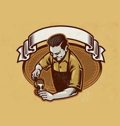 Retro design barista making the coffee latte vector