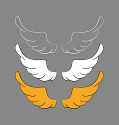 set cartoon wings sketch vector image