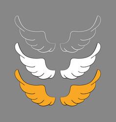 Set cartoon wings sketch vector
