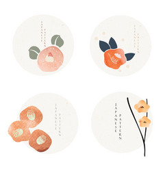 set flower icons in japanese style with grunge vector image