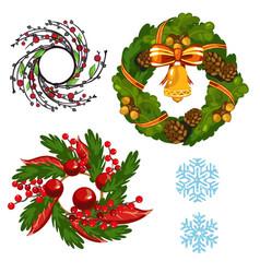 set homemade christmas wall wreaths isolated on vector image