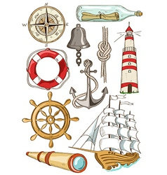 set isolated nautical icons vector image
