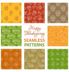 Set of outlined seamless Thanksgiving patterns vector