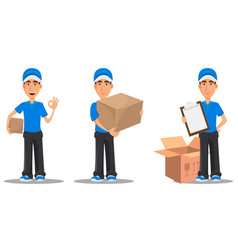 set of smiling delivery man vector image