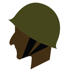 Side view a soldiers face wearing a military vector