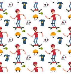 Skateboarder active people seamless pattern vector
