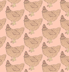 Sketch chicken hipster in vintage style vector image
