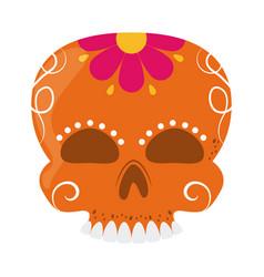 skull catrina flower decoration cinco de mayo vector image
