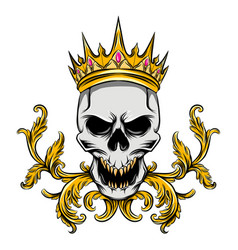 skull with golden crown and ruby vector image