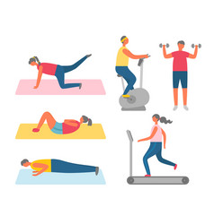 sport and fitness training apparatuses and rugs vector image