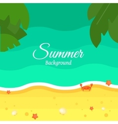 Summer Beach Background in Flat Design vector image