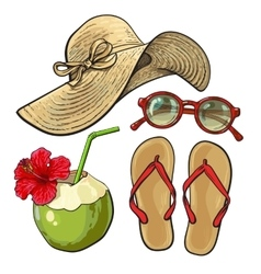 Summer time vacation attributes - hat sunglasses vector image