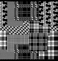 Tartan houndstooth and scottish jacquard fabric vector
