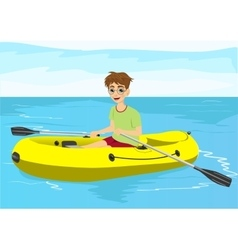 Teenager boy with glasses in yellow rubber boat vector